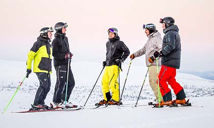 Alpine skiing tourists Trysil