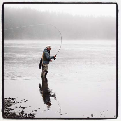 Casting in the morning fog